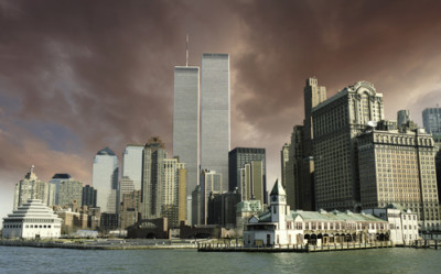Colors over New York City and WTC, U.S.A.